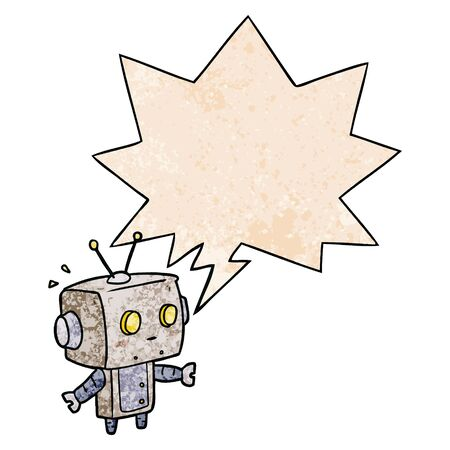 cute cartoon surprised robot with speech bubble in retro texture style