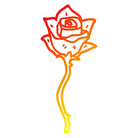 warm gradient line drawing of a cartoon white rose Banque d'images - 129279037