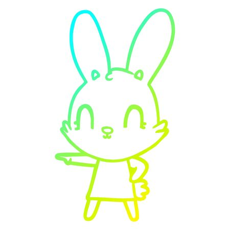cold gradient line drawing of a cute cartoon rabbit in dress