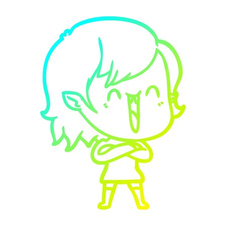 cold gradient line drawing of a cute cartoon happy vampire girl