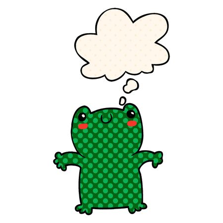 cartoon frog with thought bubble in comic book style
