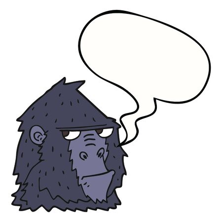 cartoon angry gorilla face with speech bubble