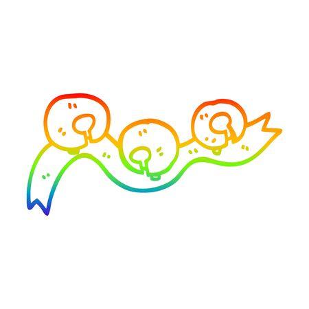rainbow gradient line drawing of a cartoon xmas bells Ilustrace