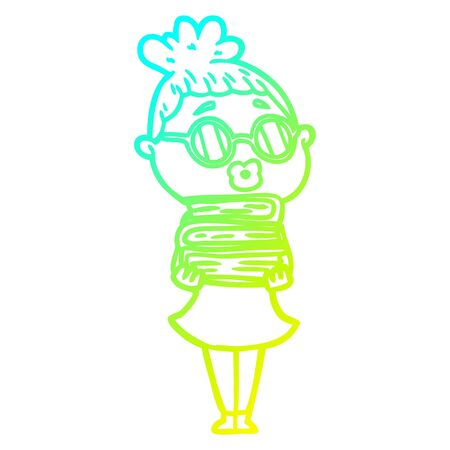 cold gradient line drawing of a cartoon librarian woman wearing spectacles Stok Fotoğraf - 129279059