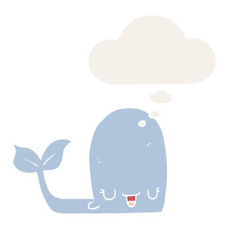 cartoon happy whale with thought bubble in retro style 向量圖像