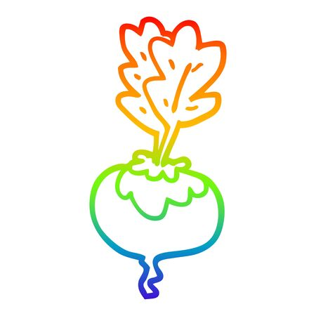 rainbow gradient line drawing of a cartoon beetroot
