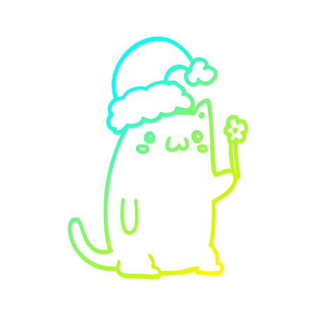 cold gradient line drawing of a cute cartoon christmas cat
