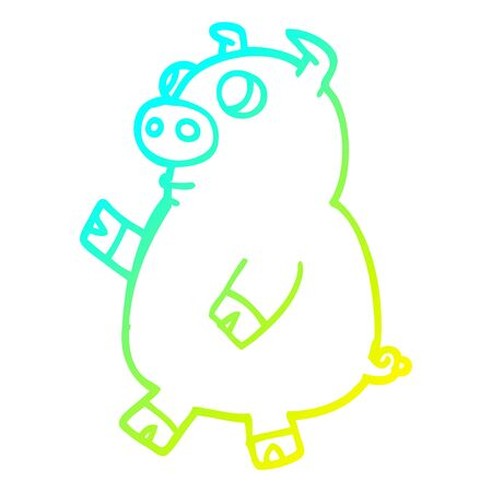 cold gradient line drawing of a cartoon funny pig