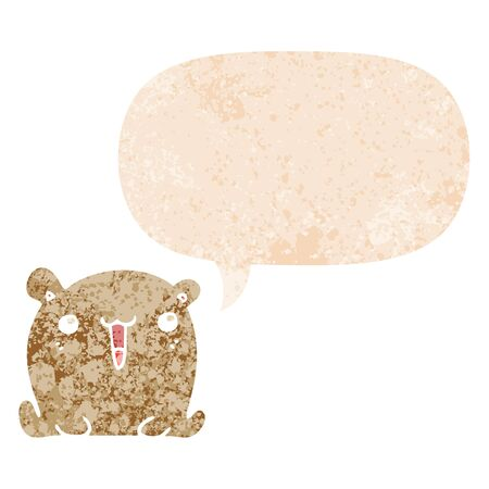 cute cartoon bear with speech bubble in grunge distressed retro textured style