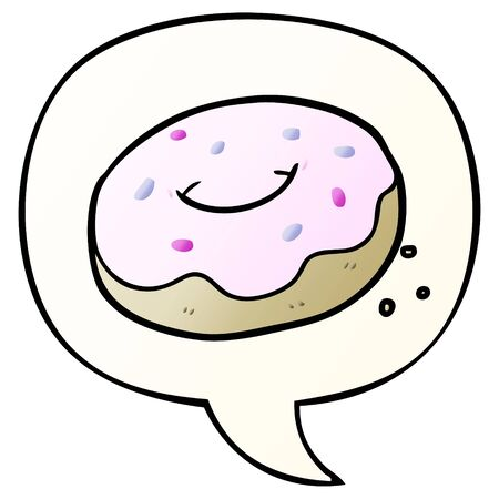 cartoon donut with sprinkles with speech bubble in smooth gradient style