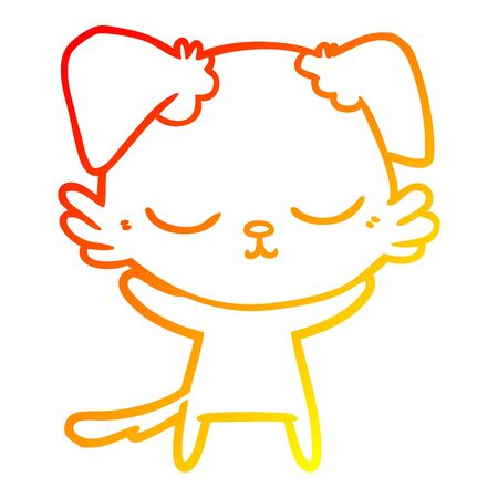 warm gradient line drawing of a cute cartoon dog Ilustrace