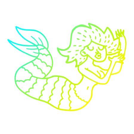 cold gradient line drawing of a cartoon woman mermaid Stok Fotoğraf - 129279067
