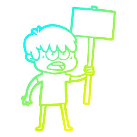 cold gradient line drawing of a worried cartoon boy Stok Fotoğraf - 129279064