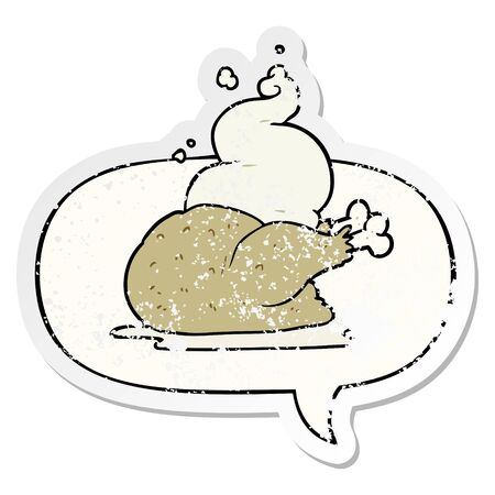 cartoon whole cooked chicken with speech bubble distressed distressed old sticker