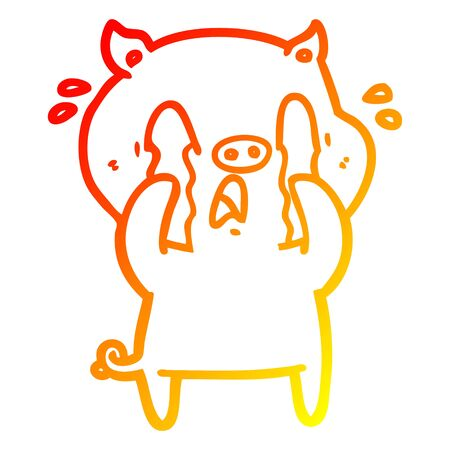 warm gradient line drawing of a crying pig cartoon
