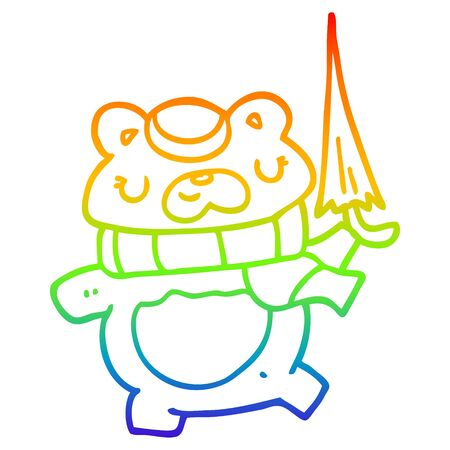 rainbow gradient line drawing of a cartoon bear with umbrella
