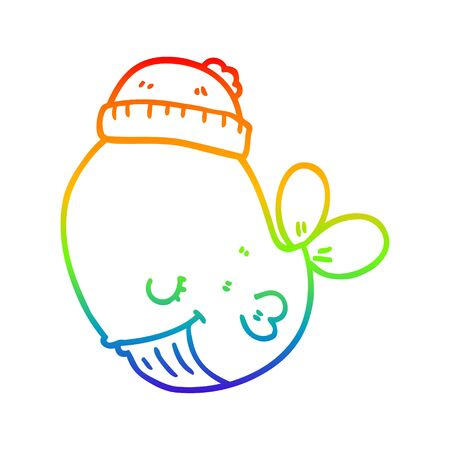rainbow gradient line drawing of a cartoon whale wearing hat Ilustração
