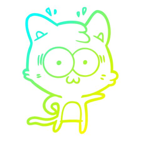 cold gradient line drawing of a cartoon surprised cat Ilustrace