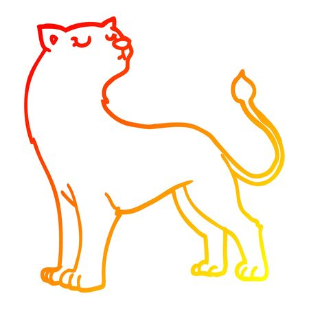 warm gradient line drawing of a cartoon lioness