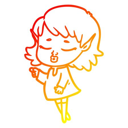 warm gradient line drawing of a pretty cartoon elf girl Stok Fotoğraf - 129279074