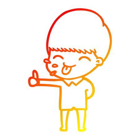 warm gradient line drawing of a happy cartoon boy