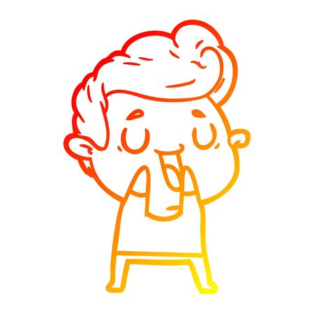 warm gradient line drawing of a happy cartoon man Stok Fotoğraf - 129279070