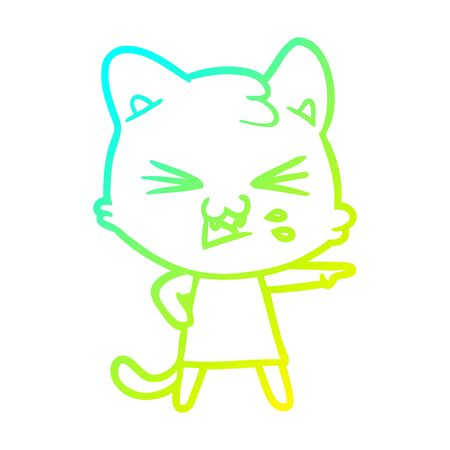cold gradient line drawing of a cartoon cat hissing