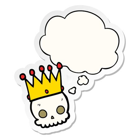 cartoon skull with crown with thought bubble as a printed sticker Ilustração