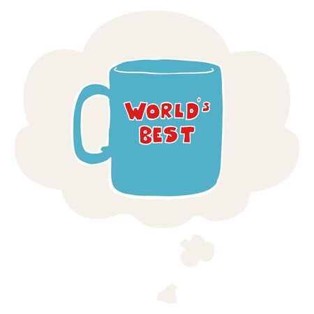 worlds best mug with thought bubble in retro style Stok Fotoğraf - 129279084
