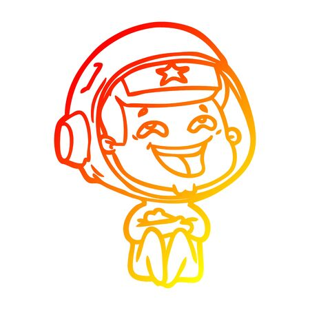 warm gradient line drawing of a cartoon laughing astronaut Stok Fotoğraf - 129279085