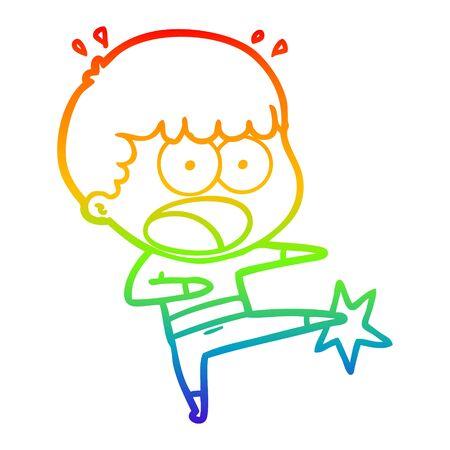 rainbow gradient line drawing of a cartoon boy karate kicking 일러스트