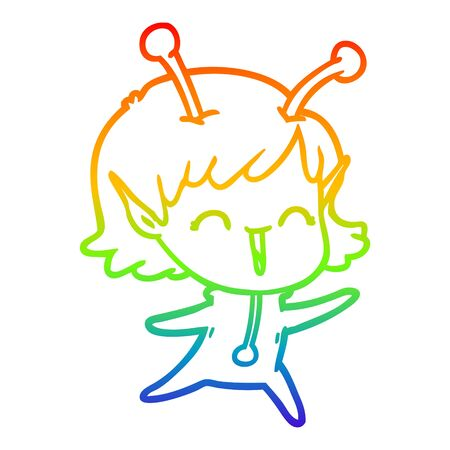 rainbow gradient line drawing of a cartoon alien girl laughing Ilustração