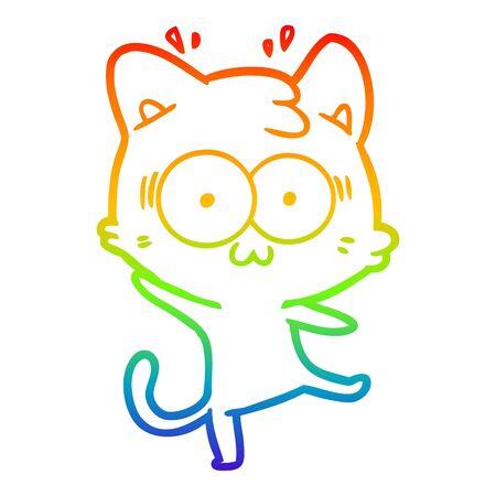 rainbow gradient line drawing of a cartoon surprised cat Ilustrace