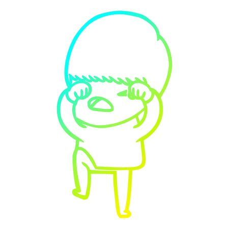 cold gradient line drawing of a cartoon stressed man 일러스트