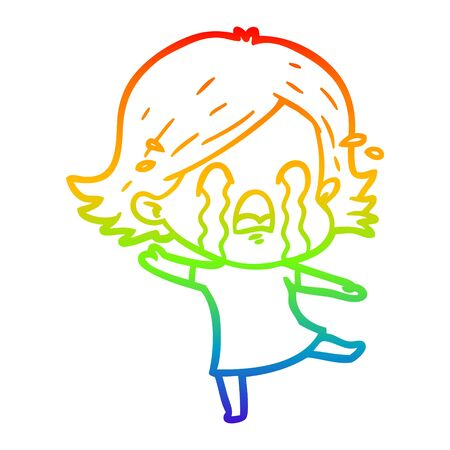 rainbow gradient line drawing of a cartoon woman crying