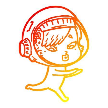warm gradient line drawing of a cartoon astronaut woman 일러스트