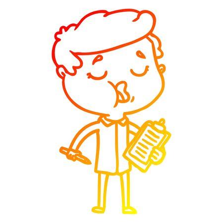 warm gradient line drawing of a cartoon man talking