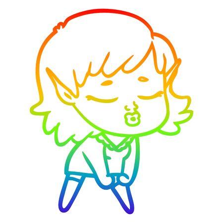 rainbow gradient line drawing of a pretty cartoon elf girl Stok Fotoğraf - 129279094