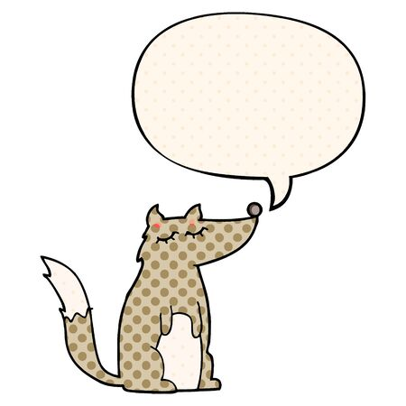cartoon wolf with speech bubble in comic book style
