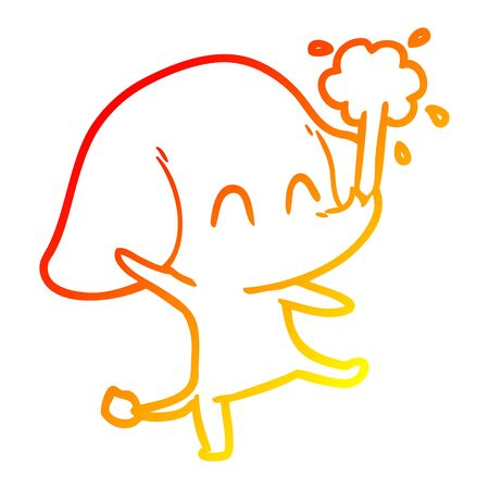 warm gradient line drawing of a cute cartoon elephant spouting water Stok Fotoğraf - 129279110