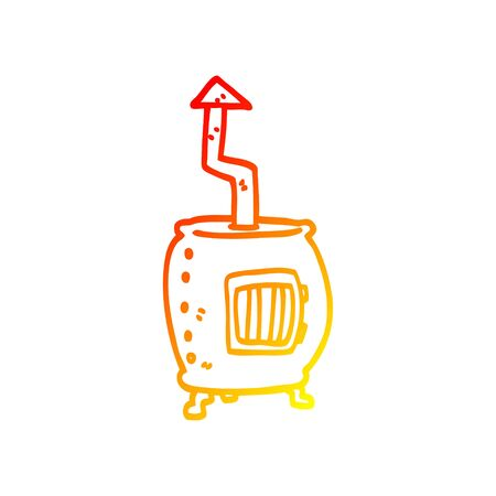 warm gradient line drawing of a cartoon old wood burner