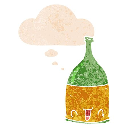 cartoon wine bottle with thought bubble in grunge distressed retro textured style