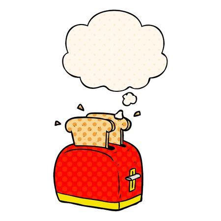 cartoon broodrooster met gedachte bel in stripboekstijl