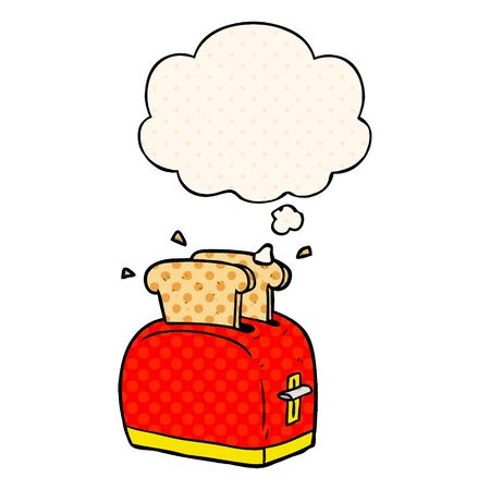 cartoon toaster with thought bubble in comic book style Illustration