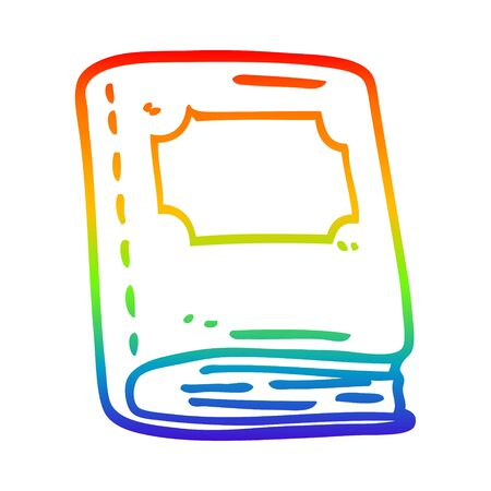 rainbow gradient line drawing of a cartoon old leather book Çizim