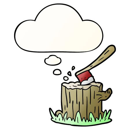 cartoon axe in tree stump with thought bubble in smooth gradient style Illustration