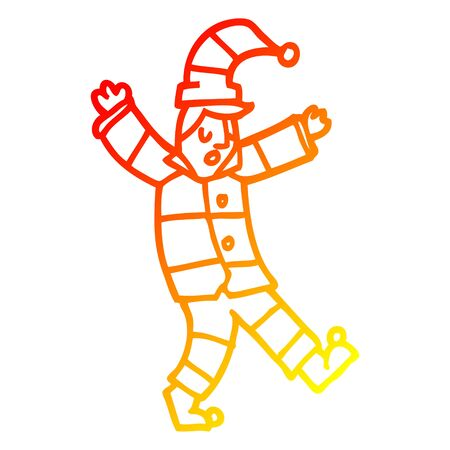 warm gradient line drawing of a cartoon man in traditional pyjamas