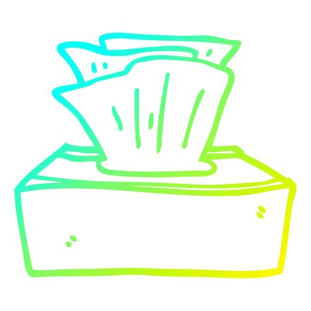 cold gradient line drawing of a cartoon box of tissues