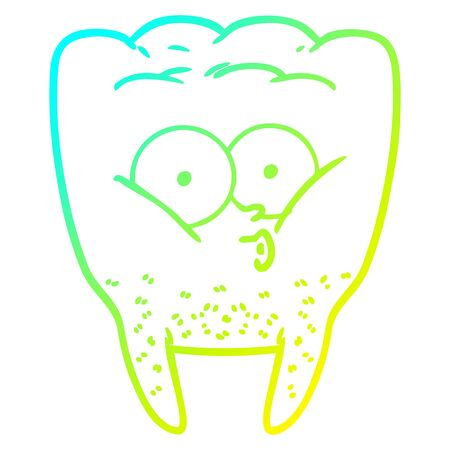cold gradient line drawing of a cartoon whistling tooth
