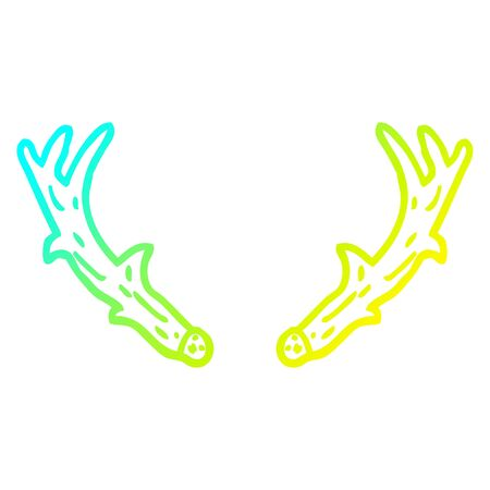 cold gradient line drawing of a cartoon antlers